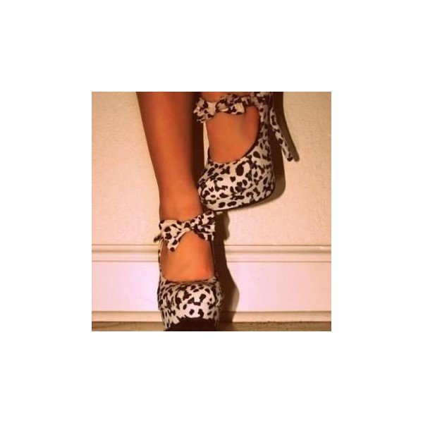 Leopard Print Heels Almond Toe Bow Stilettos Pumps with Platform image 1