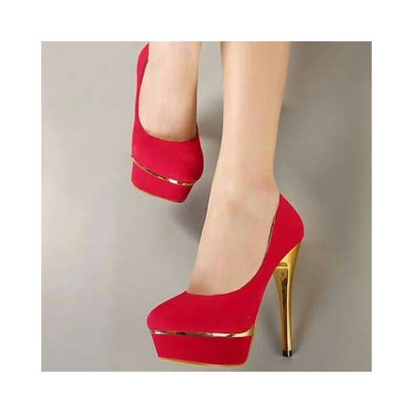 Women's Red Pumps Heels Low-cut Uppers Platform Heels Shoes image 1