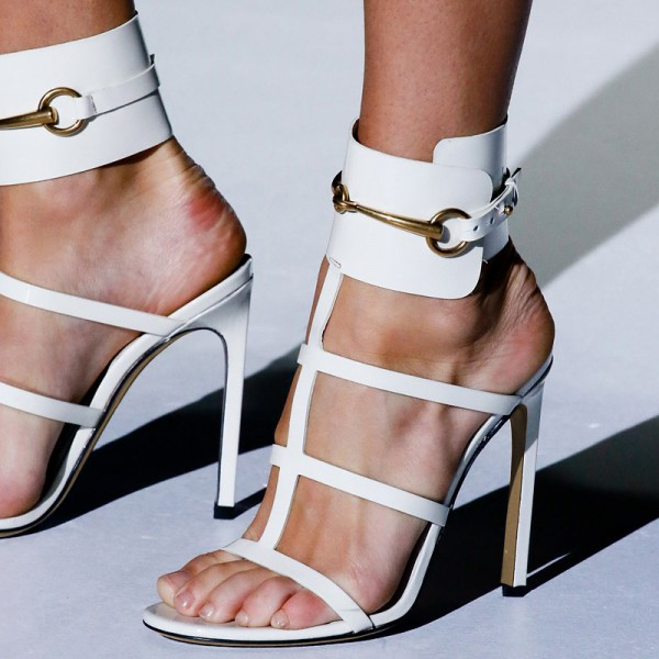 Women's White Open Toe Buckle Stiletto Heel Ankle Strap  Sandals Shoes image 1