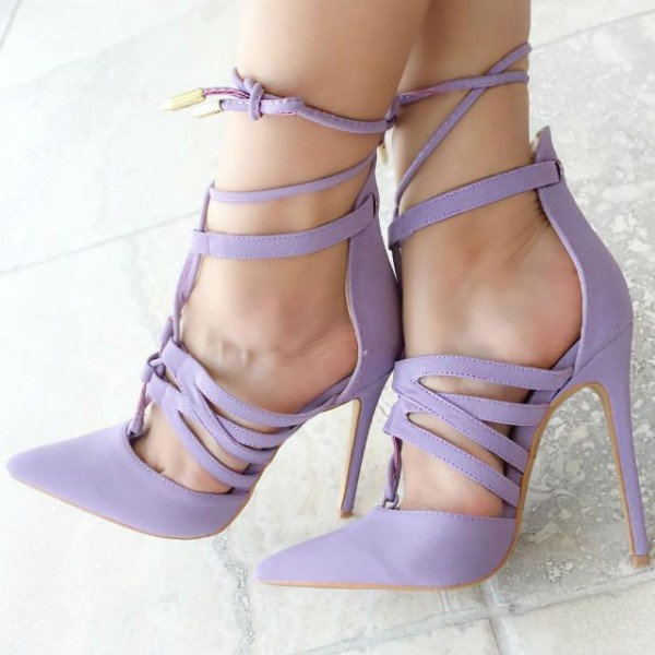 Lilac Lace up Heels Pointy Toe Stiletto Heel Pumps US Size 3-15 image 1