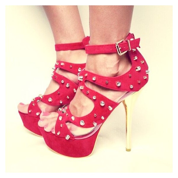 Women's Red Ankle Strap Heels with Rivets Stiletto Heel Stripper Shoes image 1
