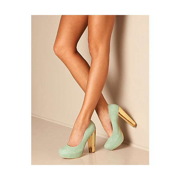 Light Green Suede Platform Heels Round Toe Chunky Heel Pumps image 1