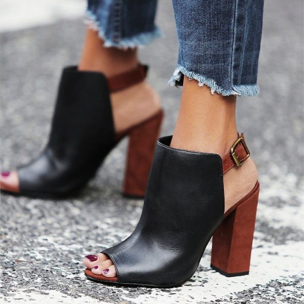 Black and Maroon Summer Boots Peep Toe Chunky Heels Slingback Shoes image 1
