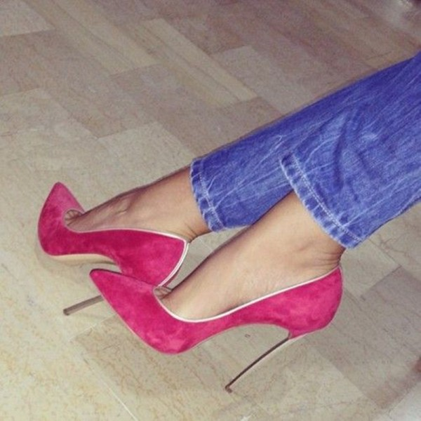 Hot Pink Stiletto Heels Pointy Toe 5 Inches Suede Pumps image 1