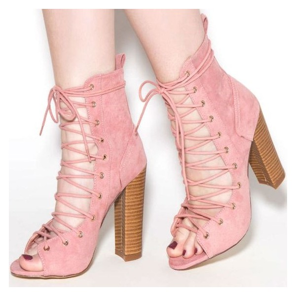 Light Pink Lace up Boots Open Toe Suede Chunky Heels image 1