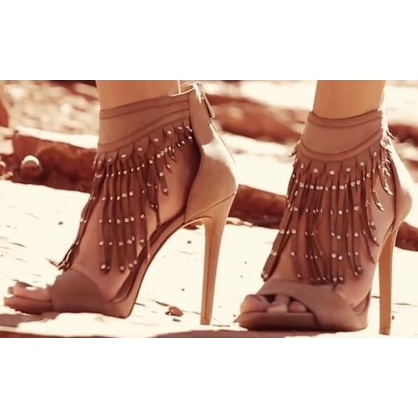 Tan Suede Fringe Sandals Open Toe Stiletto Heels US Size 3-15 image 1