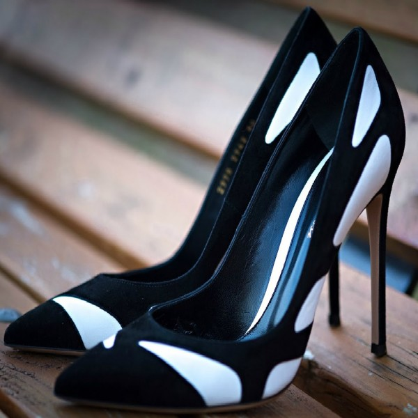Women's Black Commuting Pointed Toe Stiletto Heels Pumps Shoes image 1