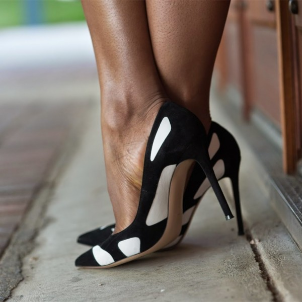 Women's Black Commuting Pointed Toe Stiletto Heels Pumps Shoes image 2