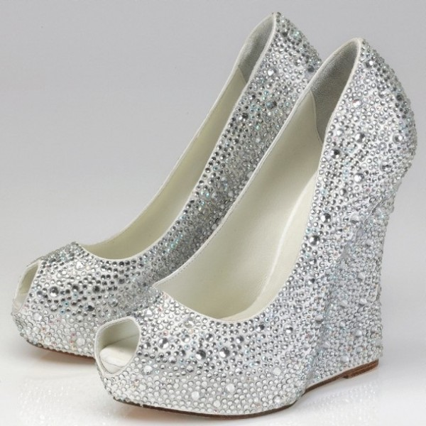 Silver Wedding Heels Rhinestone Peep Toe Wedge Heel Pumps image 1