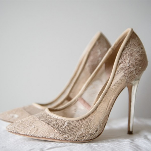 Nude Wedding Shoes Lace Heels Pointy Toe Stiletto Pumps image 1