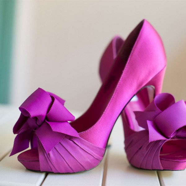Magenta Bridal Heels Satin Peep Toe Stiletto Heel Pumps with Bow image 1