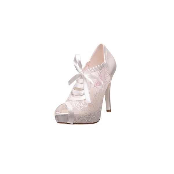 White Bridal Shoes Lace up Peep Toe Platform Lace Ankle Booties image 1