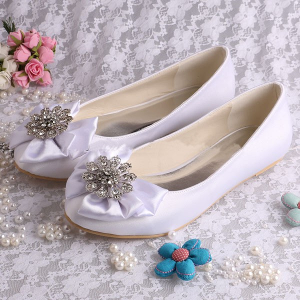 White Wedding Flats Round Toe Satin Rhinestone Bow Shoes for Bridesmaid image 1