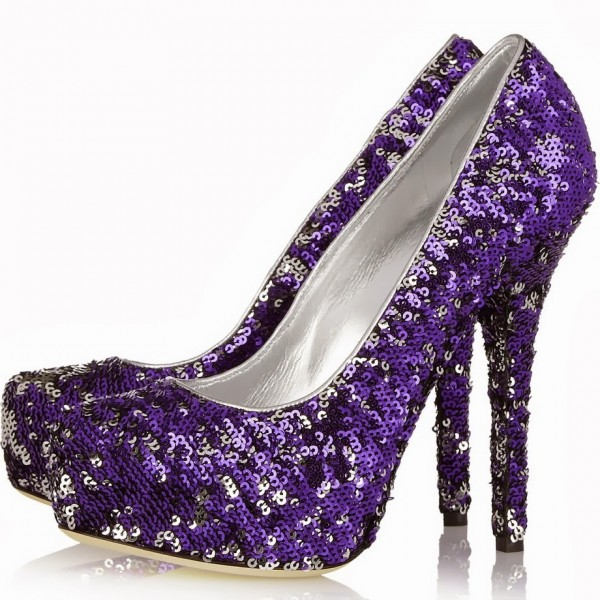 Purple Evening Shoes Sequined Pumps Platform High Heels for Prom image 1