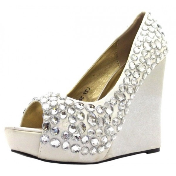 white wedding shoes rhinestone peep toe wedge heel pumps