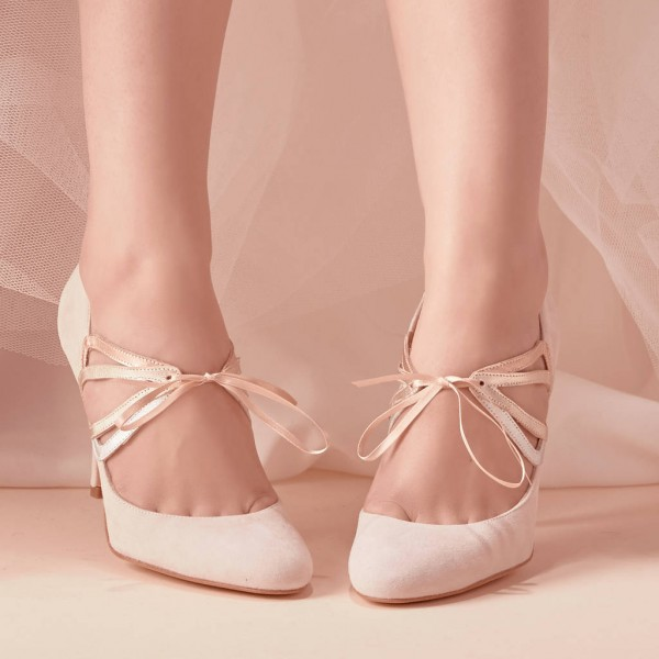 Ivory Bridal Heels Lace up Suede Stiletto Heel Pumps for Wedding image 1