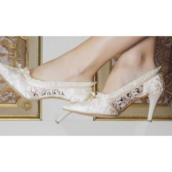 Ivory Bridal Shoes Lace Heels Pointy Toe Wedding Pumps image 2