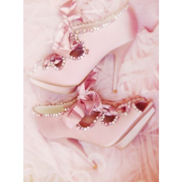 Pink Bridal Heels Lace up Rhinestone Peep Toe Satin Pumps for Wedding image 2