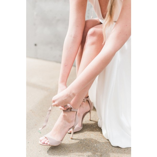 Beige Bridal Sandals Lace up Open Toe Suede Stiletto Heels image 2