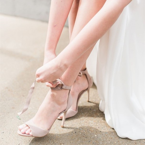 Beige Bridal Sandals Lace up Open Toe Suede Stiletto Heels image 1
