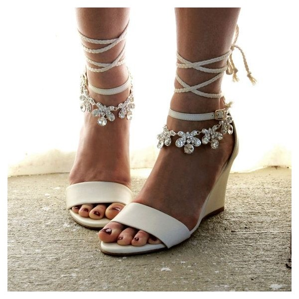 Women's White Bridal Heels Strappy Rhinestone Wedge Heel Sandals image 1