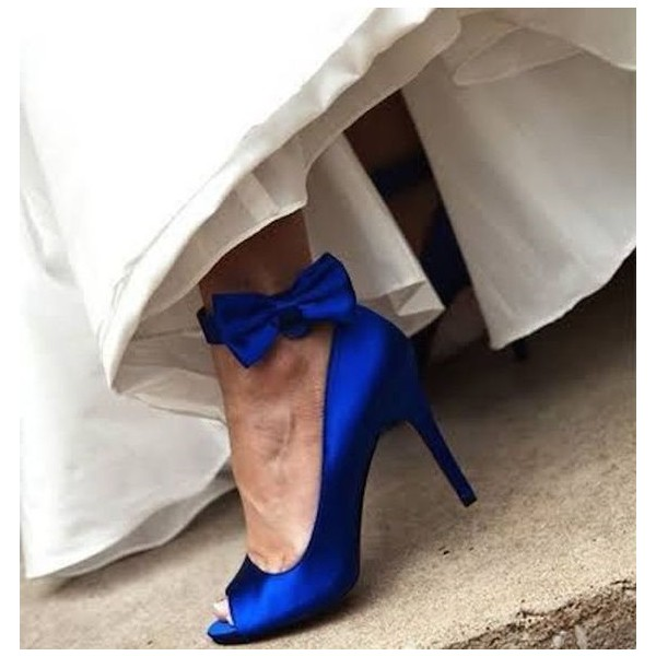 Royal Blue Bridal Heels Peep Toe Ankle Bow Satin Pumps for Wedding image 1