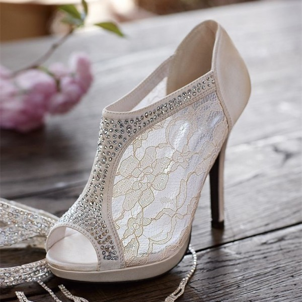 Ivory Satin Bridal Shoes Peep Toe Rhinestone Lace Ankle Booties image 1