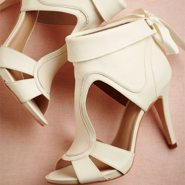 Women's White Peep Toe Hollow Out Bow Stiletto Heel Ankle Boot Wedding Shoes image 1