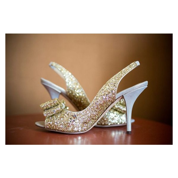 Champagne Wedding Heels Slingback Glitter Sandals for Bridesmaid image 2