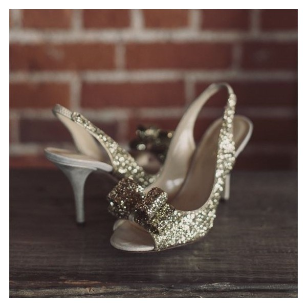 Champagne Wedding Heels Slingback Glitter Sandals for Bridesmaid image 1