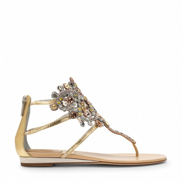 Gold Flip-Flops Wedding Sandals with Colorful Rhinestones image 4