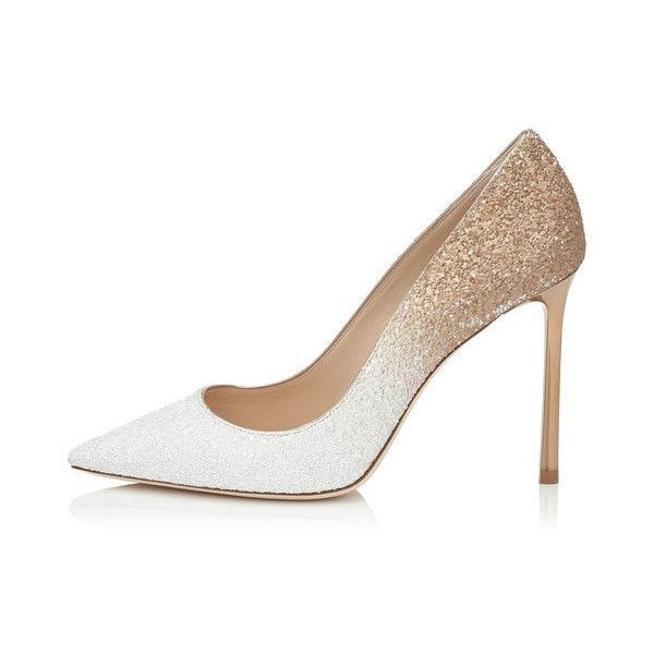 Women's White N Golden Wedding Shoes Pointed Toe Stiletto Heels Pumps image 1