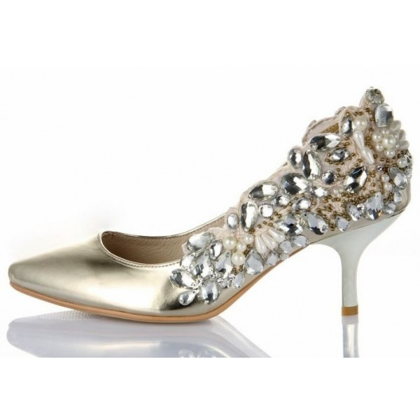 Champagne Metallic Low Heel Wedding Shoes Rhinestone Pointy Toe Pumps image 1