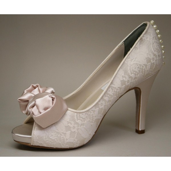Blush Peep Toe Wedding Shoes Lace Stiletto Heels Pumps with Bow image 1