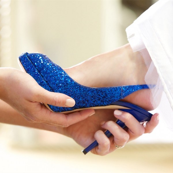 Women's Royal Blue Platform Almond Toe Glitter Sling Back Stiletto Heel Pumps Wedding Shoes image 1
