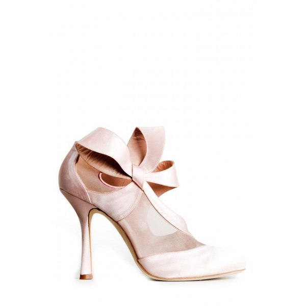 Pink Wedding Heels Round Toe Satin Lace Pumps with Bow  image 2