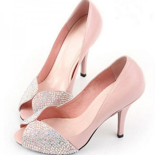 Pink Wedding Heels Peep Toe Rhinestone Pumps US Size 3-15 image 1