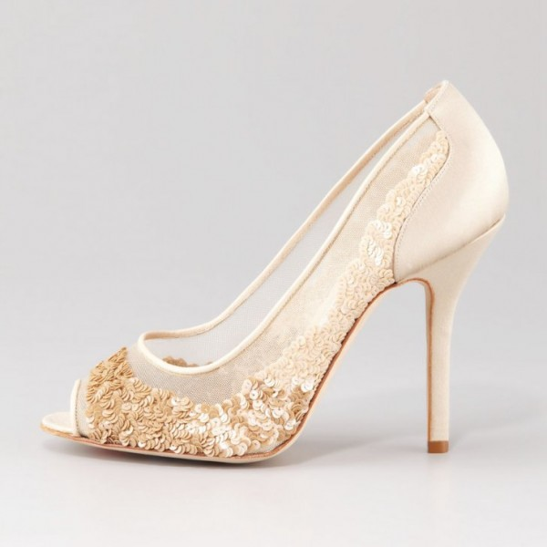 Beige Bridal Shoes Lace Heels Sequined Peep Toe Stiletto Heel Pumps image 2