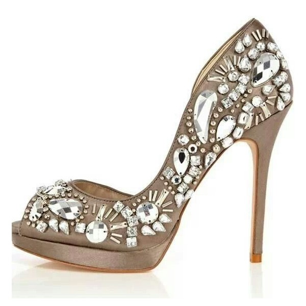 Women's Nude Peep Toe Platform Rhinestone Stiletto Heel Bridal Shoes image 1