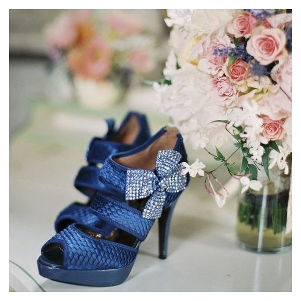 Women's Navy Peep Toe Platform Floral Stiletto Heel Sandals Bridal Shoes  image 1