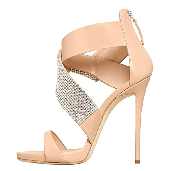 Women's Nude Open Toe Stiletto Heel Ankle Strap Sandals Bridal Sandals image 2