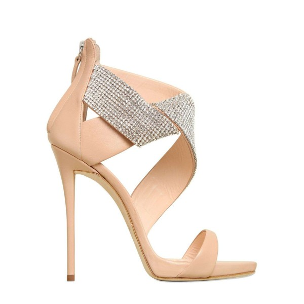 Women's Nude Open Toe Stiletto Heel Ankle Strap Sandals Bridal Sandals image 3