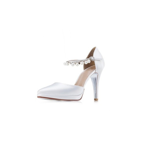 White Satin Bridal Heels Pearls Pointy Toe Platform Chunky Heel Pumps image 2