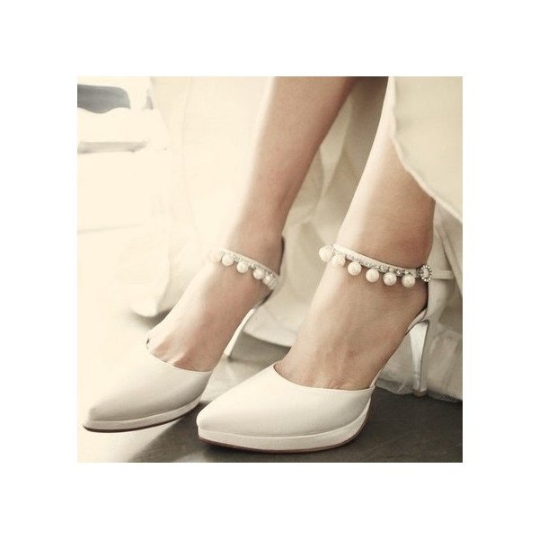 White Satin Bridal Heels Pearls Pointy Toe Platform Chunky Heel Pumps image 3