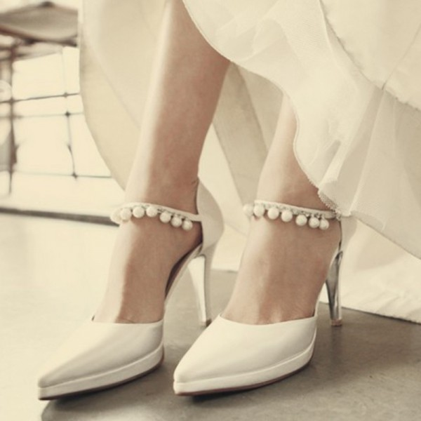 White Satin Bridal Heels Pearls Pointy Toe Platform Chunky Heel Pumps image 1
