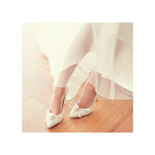 Women's White Pointed Toe Jeweled Ribbon Stiletto Heel Pumps Bridal Shoes image 2