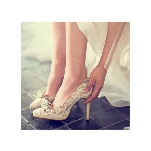 Nude Bridal Shoes Platform Lace Heels with Rhinestone image 2