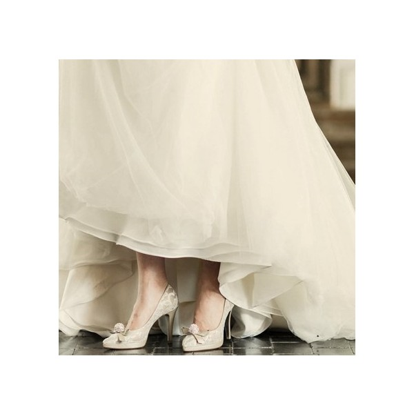 Nude Bridal Shoes Platform Lace Heels with Rhinestone image 3