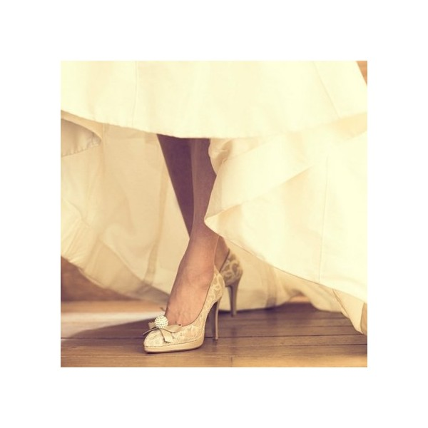 Nude Bridal Shoes Platform Lace Heels with Rhinestone image 1