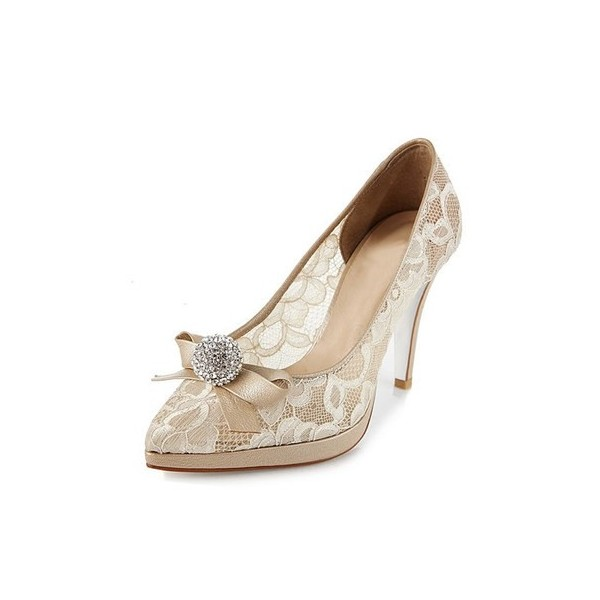 Nude Bridal Shoes Platform Lace Heels with Rhinestone image 4